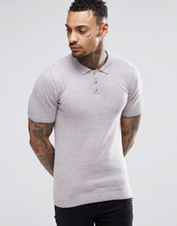Asos Muscle Fit Knitted Polo In Pink Twist Pink And Grey Twist