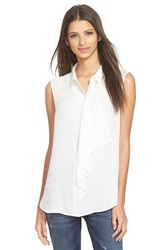 Leith Ruffle Front Sleeveless Shirt White Snow
