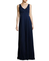Donna Morgan V Neck Pleated Chiffon Gown Navy