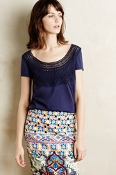 Meadow Rue Jasmine Lace Tee Navy