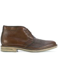 Brimarts Lace Up Ankle Boots Leather Rubber Brown