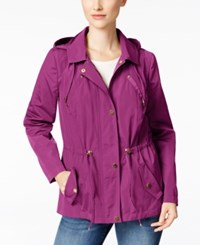 Charter Club Water Resistant Hooded Utility Jacket Only At Macy's Fucshia Red