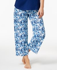 Charter Club Printed Cotton Knit Cropped Pajama Pants Only At Macy's Summer Blooms