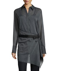 3.1 Phillip Lim Striped Tunic Shirt With Belt Black White