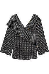 Diane Von Furstenberg Ruffled Polka Dot Silk Crepe De Chine Wrap Top Black