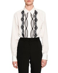 Poplin Blouse W Lace Trim White Black White Black