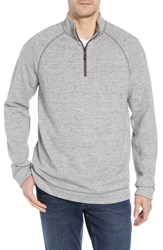 Tommy Bahama On The Doubles Mock Neck Quarter Zip Pullover Steel Wool