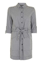 Topshop Gingham Mix Match Shirt Dress Monochrome