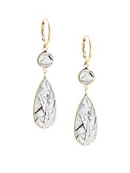 Saks Fifth Avenue Rutilated Quartz In 14K Gold Pear Drop Earrings