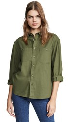 Rolla's Utility Linen Shirt Olive