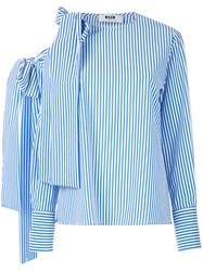 Msgm Loose Fit Striped Blouse Blue