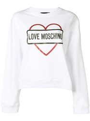Love Moschino Logo Print Sweatshirt White