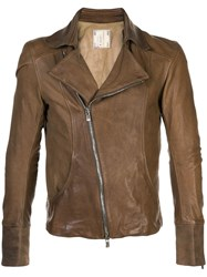 Guidi Leather Biker Jacket Brown