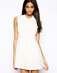 John Zack Skater Dress With Contrast Lace Collar