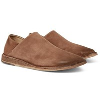 Marsell Stag Collapsible Heel Suede Loafers Light Brown