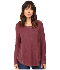 Dylan By True Grit Lux Sparkle Slub Textured Crew Claret Women's T Shirt
