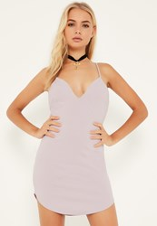 Missguided Lilac Strappy Plunge Bodycon Dress Mauve