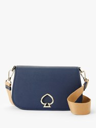 Kate Spade New York Suzy Medium Saddle Leather Cross Body Bag Navy