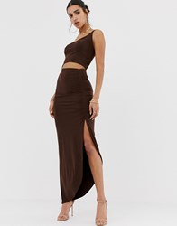 Prettylittlething Slinky One Shoulder Cut Out Midi Dress With Ruched Side Split In Chocolate Brown