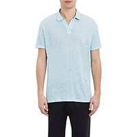 Vince. Men's Linen Short Sleeve Polo Shirt Light Blue
