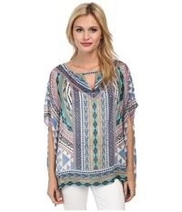 Hale Bob Native Tones Butterfly Sleeve Tunic Blue Women's Blouse