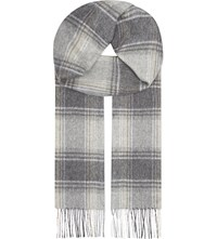 Johnstons Cashmere Gingham Scarf Grey