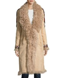 Haute Hippie Embroidered Shearling Coat Beige