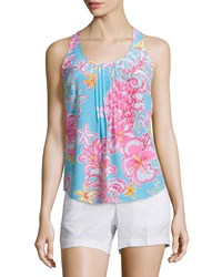 Lilly Pulitzer Dahlia Sleeveless Pleated Floral Print Top