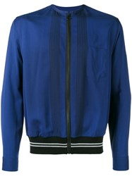 Lanvin Embroidered Zipped Bomber Jacket Blue