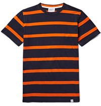 Norse Projects Niels Striped Cotton Jersey T Shirt Midnight Blue