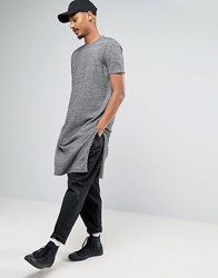 Asos Super Longline Knitted T Shirt With Extra Long Side Splits Black White Twist Grey