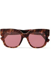Fendi Oversized Square Frame Printed Tortoiseshell Acetate Sunglasses One Size