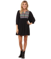 Rock And Roll Cowgirl Long Sleeve Dress D4 4522 Black Women's Dress