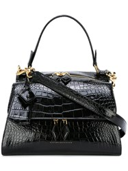 Victoria Beckham Crocodile Embossed Tote Black