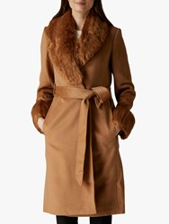 Jaeger Faux Fur Collar And Cuff Wool Coat Camel