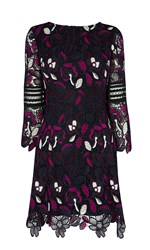 Karen Millen Floral Lace Mini Dress Multi Coloured Multi Coloured