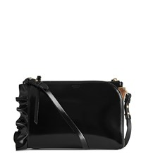 Reiss Arnott Ruffle Shine Leather Cross Body Bag In Black