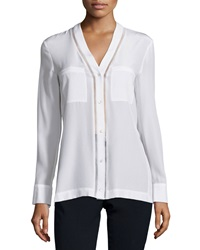 Vince Ladder Stitch Button Down Silk Blouse Off White