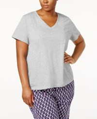 Nautica Plus Size V Neck Pajama T Shirt Heather Grey