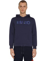 Kenzo Embroidered Jersey Sweatshirt Hoodie Navy