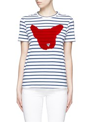Etre Cecile Breton Stripe French Bulldog Print T Shirt Multi Colour