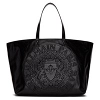 Balmain Black Medallion Shopper Tote