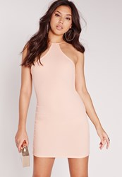 Missguided Racer Neck Bodycon Dress Nude Beige
