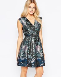 Oasis Butterfly Jacquard Skater Dress Multi