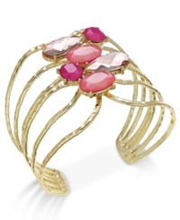 Inc International Concepts Gold Tone Pink Stone Cluster Openwork Cuff Bracelet Only At Macy's