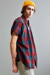 Urban Outfitters Vintage Cap Sleeve Flannel Button Down Shirt Red