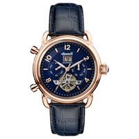 Ingersoll Men's The New England Automatic Chronograph Date Heartbeat Leather Strap Watch Navy