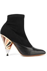 Givenchy Embellished Leather Paneled Suede Ankle Boots Black