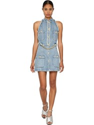 Balmain Cotton Denim Mini Dress W Chain Detail Blue
