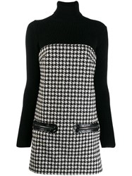 Philipp Plein Houndstooth Knitted Dress Black